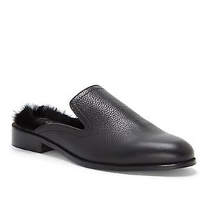STATE 5M BLACK Leather Slip-On w/ Dyer Rabbit Fur